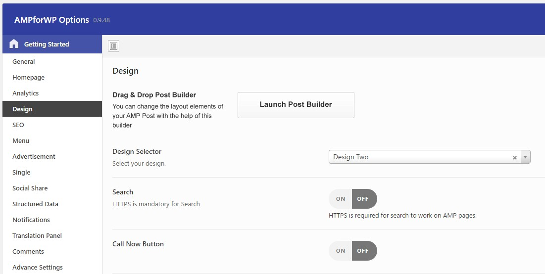 Google AMP WordPress Plugin Design Settings