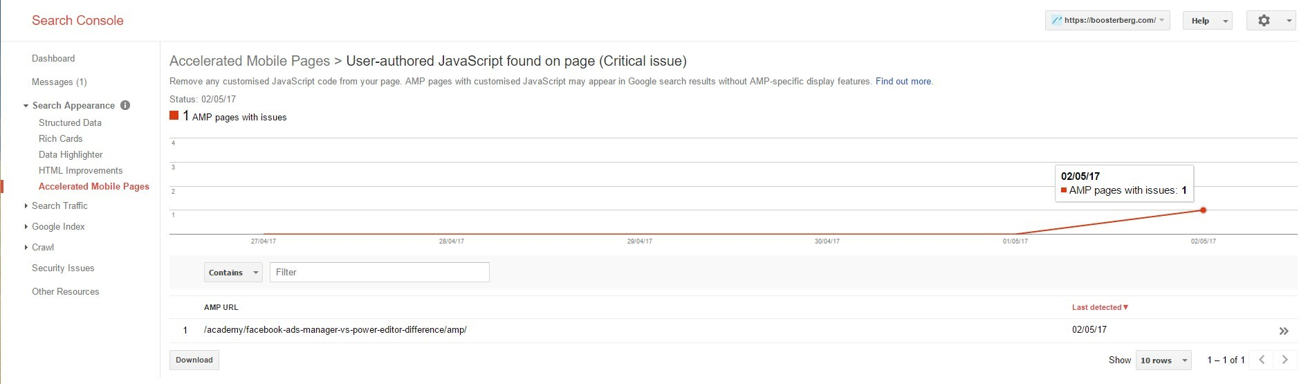 AMP Errors in Google Search Console