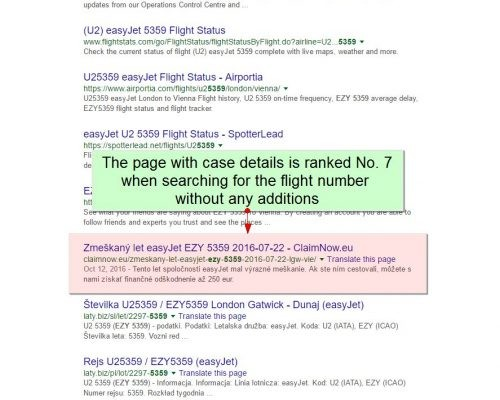Catnapweb References - SEO for Claimnow.eu - Google SERP Position when Searching for Flight Number