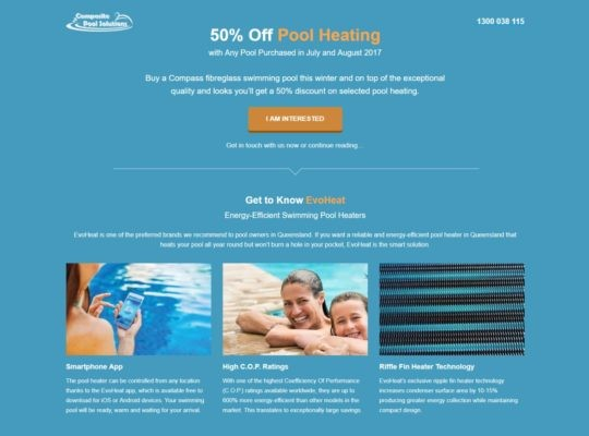 Catnapweb Case Study Composite Pool Solutions Landing Pages Pool Heating