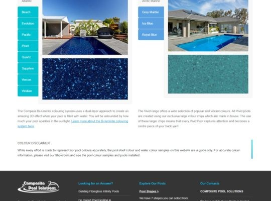 Catnapweb Case Study Composite Pool Solutions Webdesign Colours