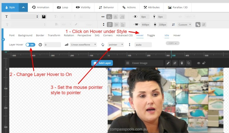 Catnapweb Advice - Creating Video Gallery in WordPress - 1-1 Changing Pointer for a Layer in Slider Revolution